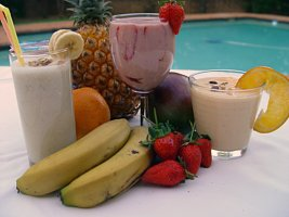 Tropical Fruit Smoothies by the Pool