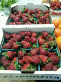 box of strawberries from farmers market