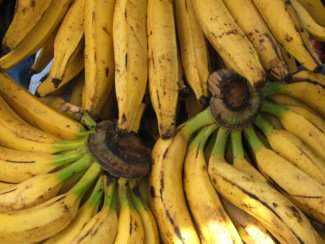Pile of ripe bananas ready for making smoothies with super foods